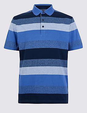 Pure Cotton Striped Polo Shirt, BLUE, catlanding