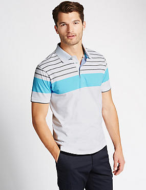 Pure Cotton Striped Tailored Fit Polo Shirt