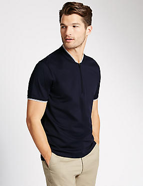 Pure Cotton Tailored Fit Baseball Polo Shirt