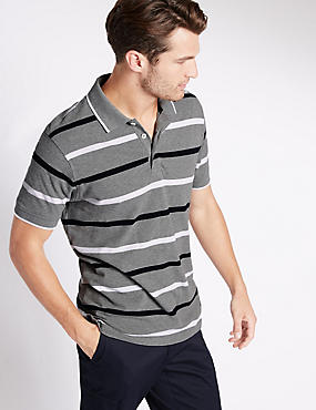 Regular Fit Pure Cotton Stripe Polo Shirt