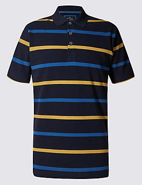 Slim Fit Pure Cotton Stripe Polo Shirt