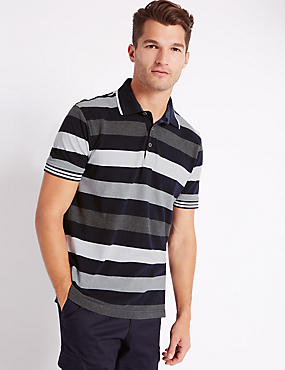 Pure Cotton Block Striped Polo Shirt