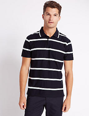 Mercerised Cotton Striped Polo