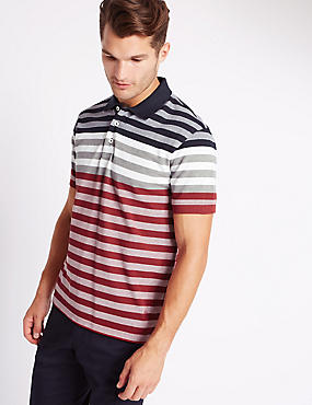 Tailored Fit Pure Cotton Striped Polo Shirt