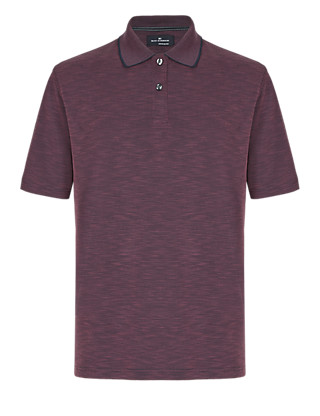 Soft Touch Textured & Striped Polo Shirt with Modal Clothing