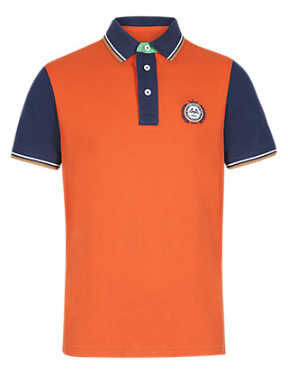 Slim Fit Pure Cotton Colour Block Polo Shirt Clothing