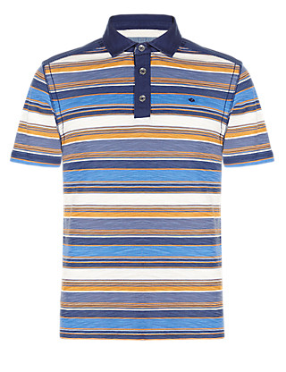 Pure Cotton Striped Polo Shirt Clothing