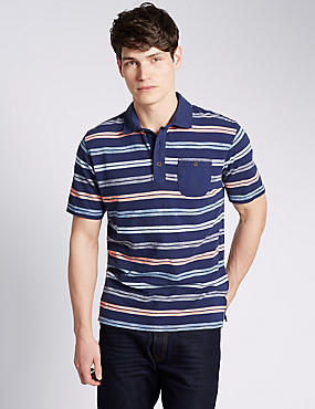 Pure Cotton Tailored Fit Textured Striped Polo Shirt