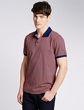 Pure Cotton Tailored Fit Geometric Print Polo Shirts