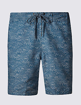 Quick Dry Wave Print Swim Shorts