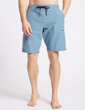 Cotton Rich Quick Dry Swim Shorts, SLATE BLUE, catlanding