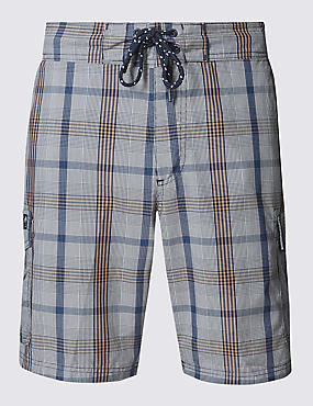 Cotton Rich Quick Dry Checked Swim Shorts