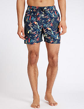 Quick Dry Printed Swim Shorts with Pocket