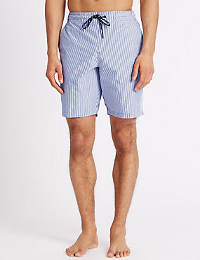 Quick Dry Striped Swim Shorts with Pocket