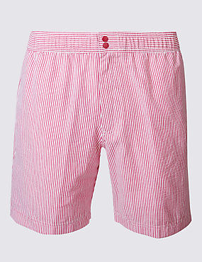 Quick Dry Cotton Blend Striped Swim Shorts