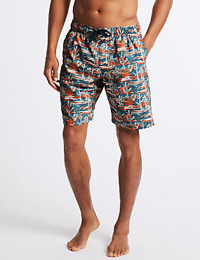 Cactus Print Quick Dry Swim Shorts, NAVY MIX, catlanding