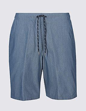Quick Dry Cotton Rich Checked Swim Shorts