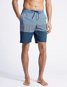 Cotton Rich Striped Quick Dry Swim Shorts, BLUE, catlanding
