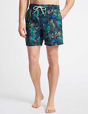 Tropical Bird Quick Dry Swim Shorts, NAVY MIX, catlanding
