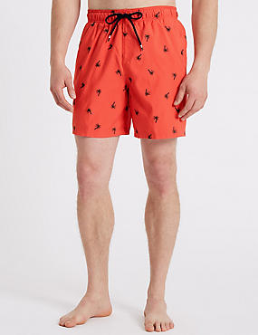 Palm Tree Embroidered Quick Dry Swim Shorts, CORAL MIX, catlanding