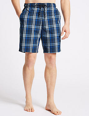 Cotton Rich Checked Quick Dry Swim Shorts, NAVY MIX, catlanding