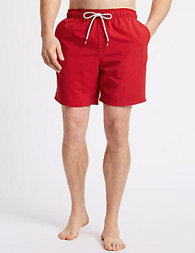 Quick Dry Swim Shorts, RED, catlanding