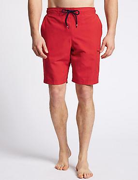 Quick Dry Cargo Swim Shorts, RED, catlanding