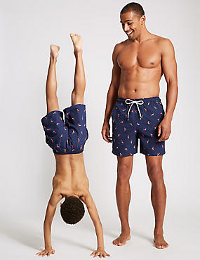 Flamingo Print Quick Dry Swim Shorts, NAVY MIX, catlanding