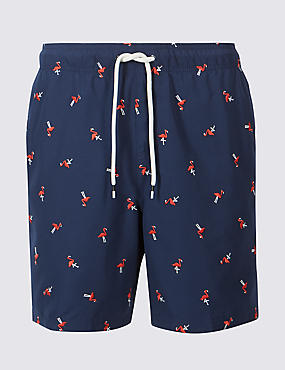 Flamingo Print Quick Dry Swim Shorts