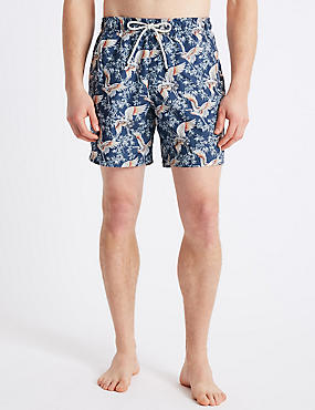 Stork Printed Quick Dry Swim Shorts, LIGHT INDIGO, catlanding