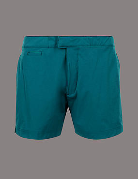 Auto Stretch Swim Shorts, TEAL, catlanding