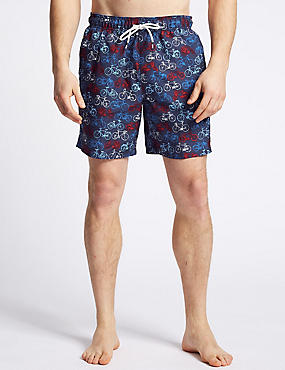 Bike Printed Quick Dry Swim Shorts, NAVY MIX, catlanding