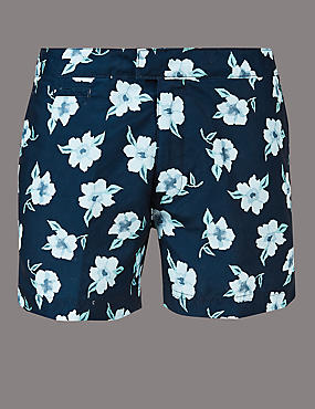 Floral Print Swim Shorts, DARK NAVY, catlanding