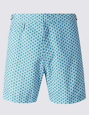 Quick Dry Tailored Fit Star Print Swim Shorts