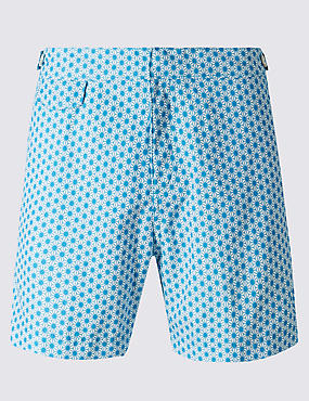 Quick Dry Mid Length Geometric Print Swim Shorts