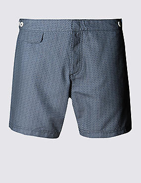 Quick Dry Puppytooth Print Swim Shorts