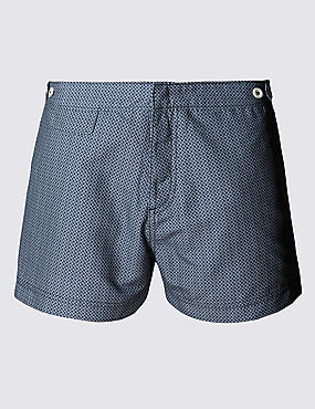 Quick Dry Tailored Fit Puppytooth Print Swim Shorts
