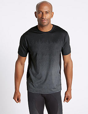 Active Quick Dry Printed T-Shirt, BLACK MIX, catlanding