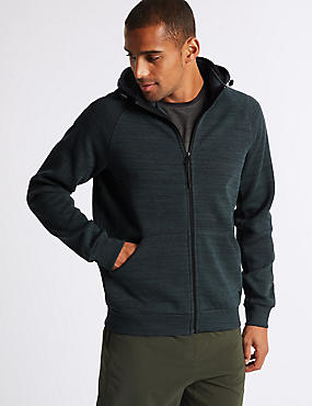 Active Cotton Rich Zip Through Hoody, DARK INK, catlanding