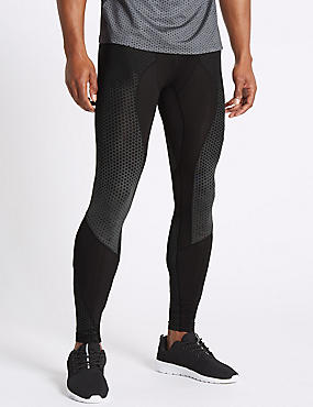 Active Quick Dry Printed Leggings, BLACK, catlanding