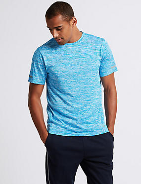 Active Slim Fit Textured Crew Neck T-Shirt, BLUE MIX, catlanding