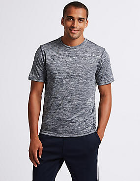 Active Slim Fit Textured Crew Neck T-Shirt, GREY MIX, catlanding