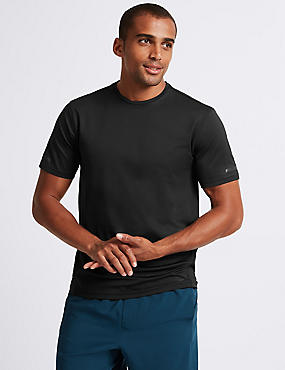 Active Textured Crew Neck T-Shirt, BLACK, catlanding