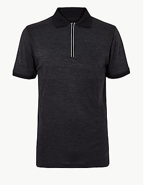 Active Textured Polo Shirt, BLACK MIX, catlanding
