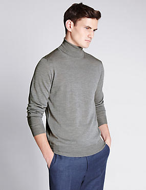 Merino Wool Slim Fit Polo Neck Jumper