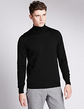 Merino Wool Rich Slim Fit Polo Neck Jumper with Silk