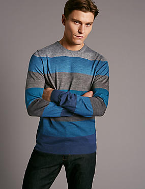 Merino Wool Blend Striped Slim Fit Jumper