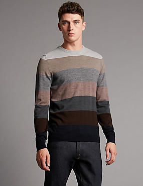 Multi Striped Crew Neck Jumper with Merino Wool
