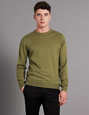 Slim Fit Textured Yoke Jumper with Wool