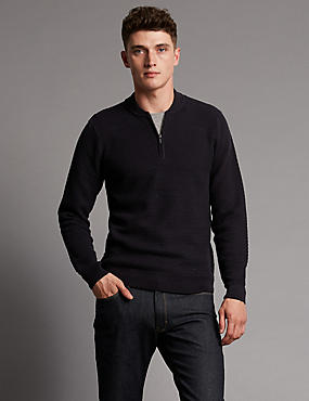Pure Cotton Base Ball Half Zip Jumper